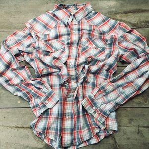 Levi's Snap Down Red Blue Plaid Shirt Size Medium